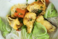 Soupe de nouilles frite de riz de poissons Image libre de droits