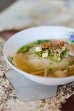 Soupe de nouilles thaïlandaise d'espace libre de porc Photographie stock libre de droits