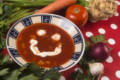Soupe de sourire à tomate photo stock
