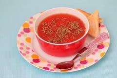 Soupe des tomates photographie stock