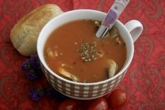 Soupe des tomates avec des champignons Photos stock