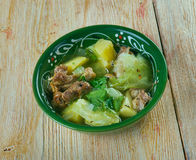 Soupe Djiboutienne. Fah - Fah  -  Soupe Soupe Djiboutienne. classic dish made typically of goat meat with vegetables and green chilies Royalty Free Stock Photography