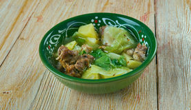 Soupe Djiboutienne. Fah - Fah  -  Soupe Soupe Djiboutienne. classic dish made typically of goat meat with vegetables and green chilies Royalty Free Stock Photos