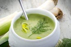 Soupe do alho-porro na bacia Imagem de Stock Royalty Free
