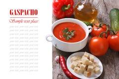 Soupe et ingrédients à Gazpacho d'isolement sur un en bois Photographie stock
