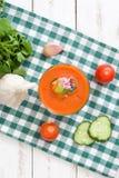 Soupe et ingrédients à Gazpacho sur le bois blanc Photos libres de droits