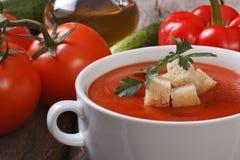 Soupe et ingrédients à Gazpacho sur un en bois Photos stock