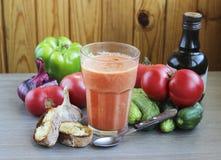Soupe et ingrédients à tomate de Gazpacho Images libres de droits