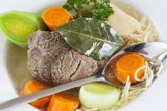 Soupe et légumes à boeuf Images libres de droits