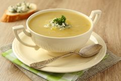 Soupe faite maison à oignon avec le céleri et le fromage bleu photographie stock libre de droits