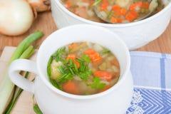 Soupe faite maison avec les légumes frais sur des herbes, Photo stock