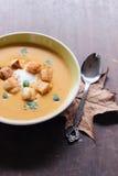 Soupe faite maison servie à potiron Photos stock