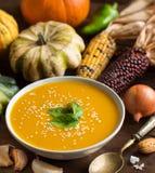Soupe fraîche à potiron avec une cuillère et des légumes Images stock