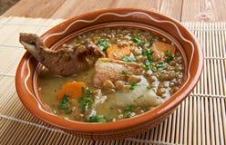 Soupe française avec les lentilles et la moutarde de Dijon Photo libre de droits