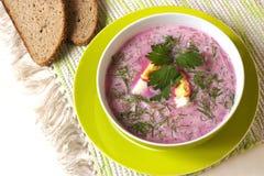 Soupe froide avec des betteraves, des concombres, l'aneth et la crème sure Image libre de droits