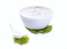 Soupe froide bulgare traditionnelle à concombre Images stock