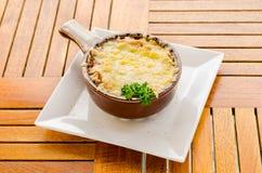 Soupe a l'Oignon Grantinee. In a pot Stock Image