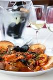 Soupe méditerranéenne à tomates de fruits de mer Photographie stock