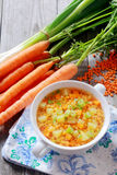 Soupe nutritive à lentille, à carotte et à poireau Images libres de droits