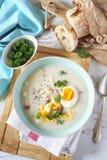 Soupe polonaise traditionnelle Zurek Soupe aigre avec la saucisse, les pommes de terre et les oeufs image libre de droits