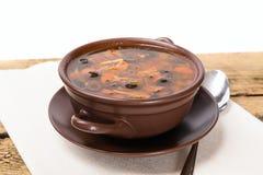 Soupe russe traditionnelle à viande avec les concombres salés Photos libres de droits