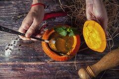 Soupe savoureuse lumineuse en potiron Photo stock