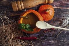 Soupe savoureuse lumineuse en potiron Image stock