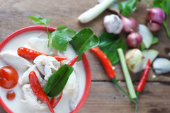 Soupe thaïlandaise à lait de noix de coco de style Photo stock