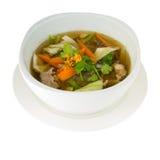 Soupe thaïlandaise avec Chenken et légume (Tom Jued) d'isolement sur le petit morceau Photos libres de droits