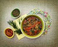 Soupe végétarienne avec des tomates et des haricots mung Photos stock