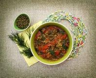 Soupe végétarienne avec des tomates et des haricots mung Photo stock