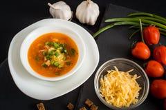 Soupe végétarienne faite maison à crème de tomate dans la cuvette blanche sur la table en bois Photographie stock libre de droits