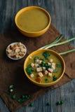 Soupe végétarienne sur la table Photographie stock libre de droits