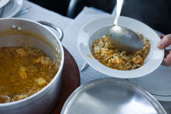Soupy seafood rice, portuguese recipe Stock Photos