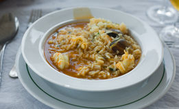 Soupy seafood rice Stock Photos