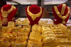 souq för dubai guldsmycken Arkivfoto