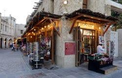 Souq-Shops bei Sonnenuntergang Stockbild