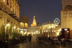 Souq Waqif在晚上,多哈卡塔尔 库存图片