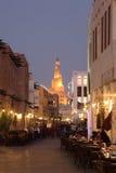 Souq Waqif bij schemer, Doha Qatar stock fotografie
