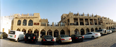 Souq Waqif, Doha, Qatar. One of the top tourist destinations within Doha. Panoramic view of Souq Waqif, offer a variety of shops, cafes and reaturants Stock Image