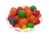 Sour balls in dish Royalty Free Stock Images
