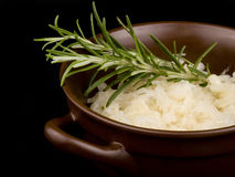 Sour cabbage and fresh rosemary in ceramic bowl Royalty Free Stock Photos
