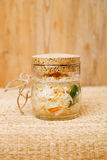 Sour cabbage - sauerkraut - in glass jar Stock Photo