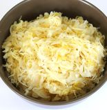 Sour cabbage. Some fresh sour cabbage in a bowl stock image