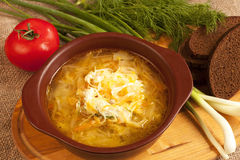 Sour cabbage soup Stock Photo