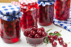 Sour cherries compote Stock Photos