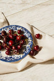 Sour  cherries on dish , close-up Stock Photography