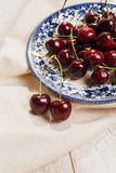 Sour  cherries on dish , close-up Royalty Free Stock Photo
