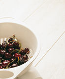 Sour  cherries on dish , close-up Stock Images