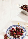 Sour  cherries on dish , close-up Stock Photo
